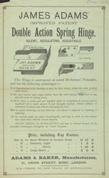 Advert For James Adam's Spring Hinge